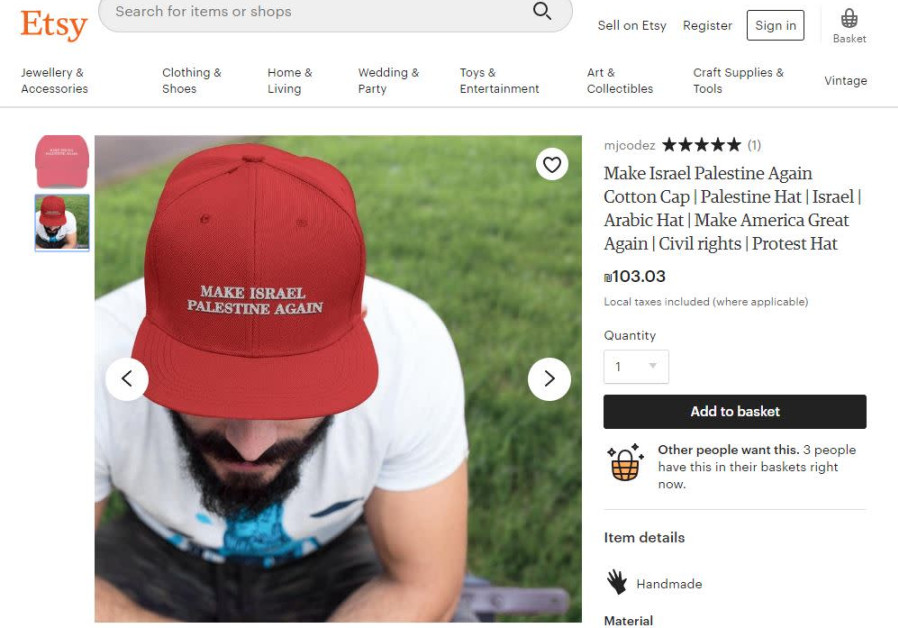 'Make Israel Palestine Again' hat trends on Etsy