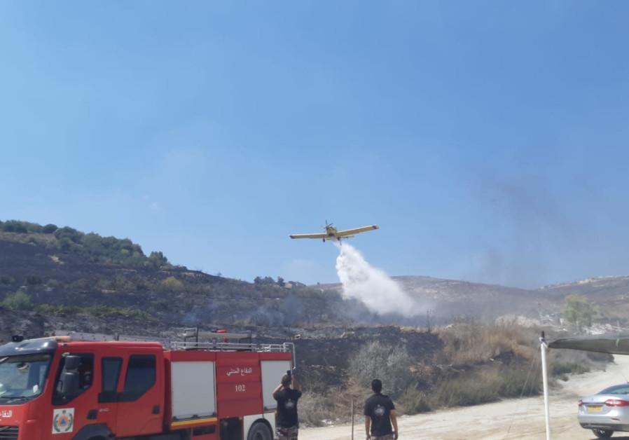 Fire near West Bank town of Har Bracha, Sept. 3, 2019