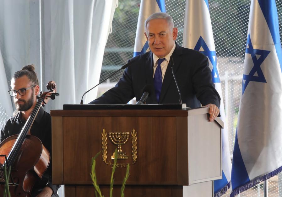 Prime Minister Benjamin Netanyahu speaks at a press conference in Hebron, September 4, 2019