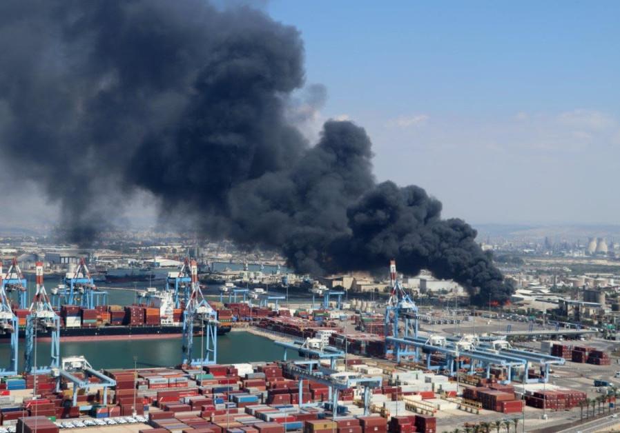 An oil plant fire in the Haifa Port