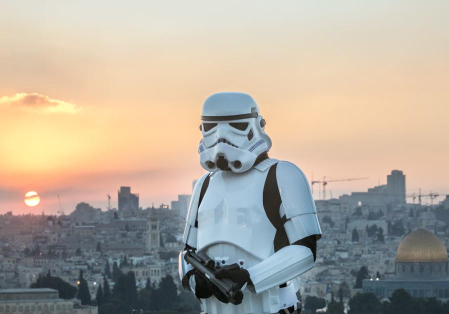 Adam Nahoum, dressed as a Stormtrooper, in Jerusalem