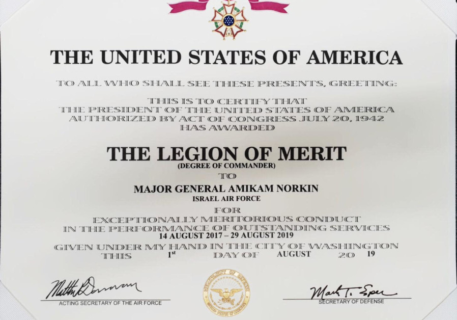 The Legion of Merit awarded to Israeli Air Force Commander Maj.-Gen. Amikam Norkin.