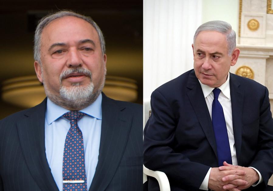 Ex-ministro da Defesa MK Avigdor Liberman e Primeiro Ministro Benjamin Netanyahu