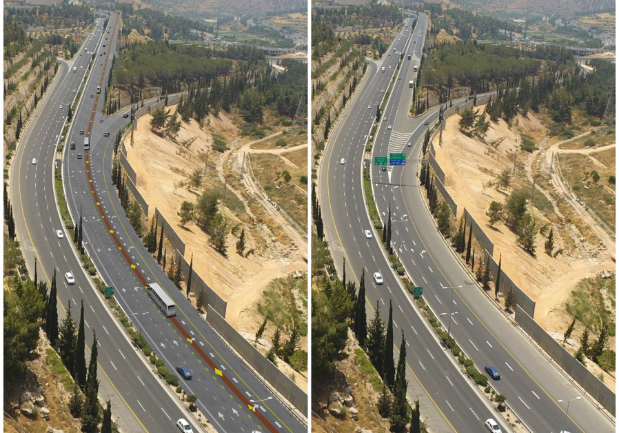 Before and after the construction of a new public transportation lane along Begin Boulevard