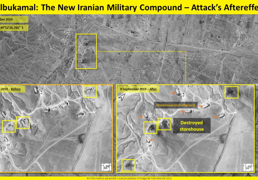 Satellite imaging shows attack on military base on Syria-Iraq border.