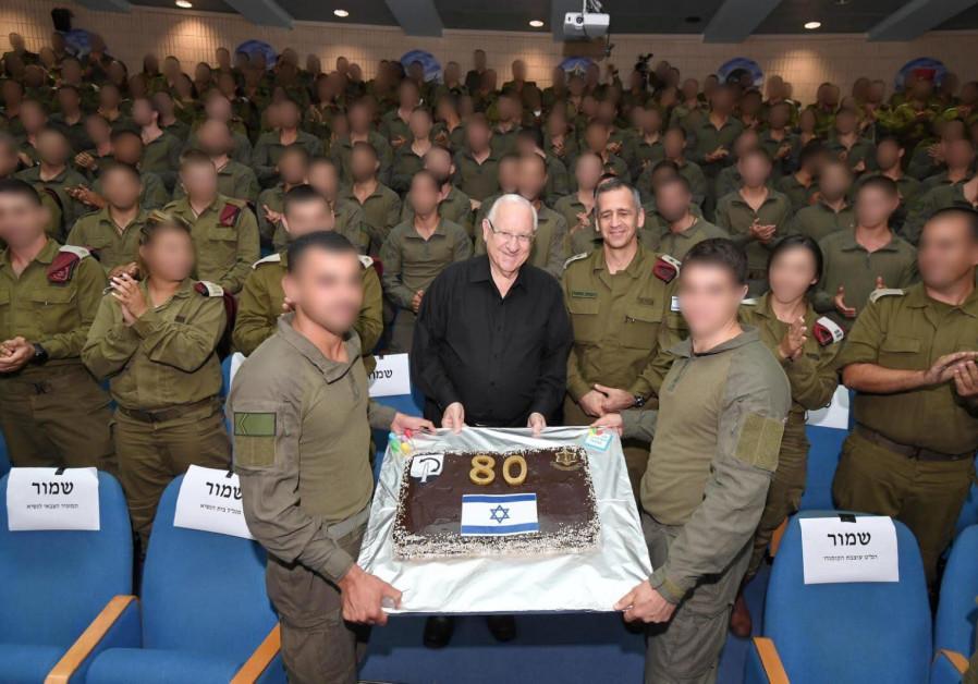 President Rivlin receives a birthday cake from the IDF Commando Brigade, Sepember 9 2019