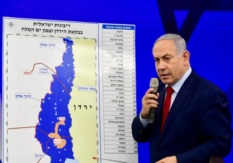 Benjamin Netanyahu announces that if reelected, he will extend Israeli sovereignty over the Jordan V
