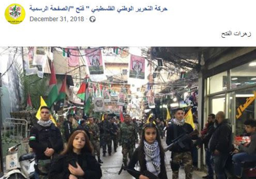 On January 1, 2019 Fatah posted a picture of young girls armed with assault rifles leading a Fatah m