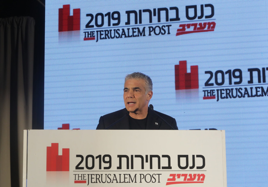 Blue and White co-candidate for prime minister Yair Lapid speaks speaks at the The Jerusalem Post-Ma