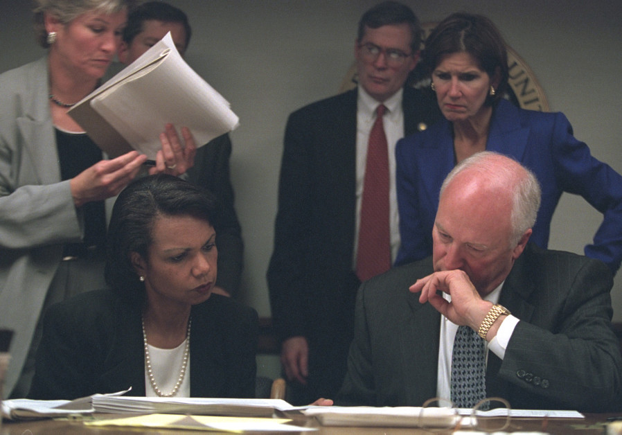 Vice President Cheney with Condoleezza Rice, Karen Hughes and Mary Matalin in PEOC on 9/11/2001