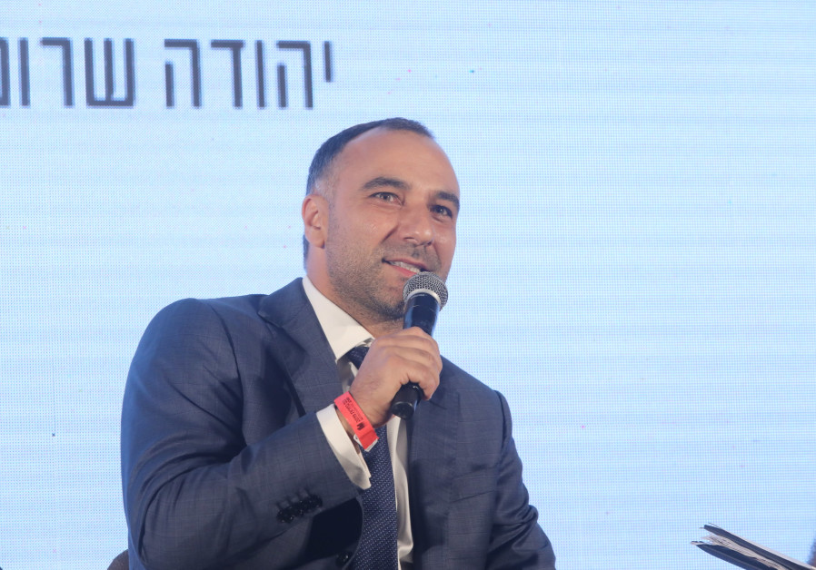 Delek Drilling CEO Yossi Abu speaks at the The Jerusalem Post-Ma'ariv Elections Conference, Septembe