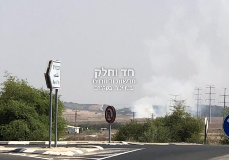 A rocket fired from the Gaza Strip falls near the town of Yad Mordechai. September 11, 2019
