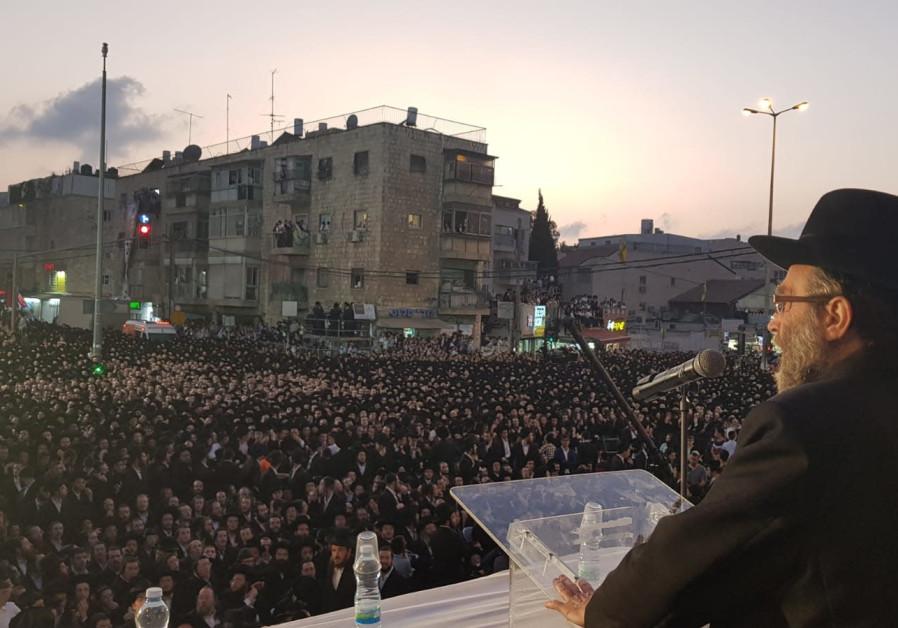 MK Moshe Gafni speaks in an ultra-Orthodox rally