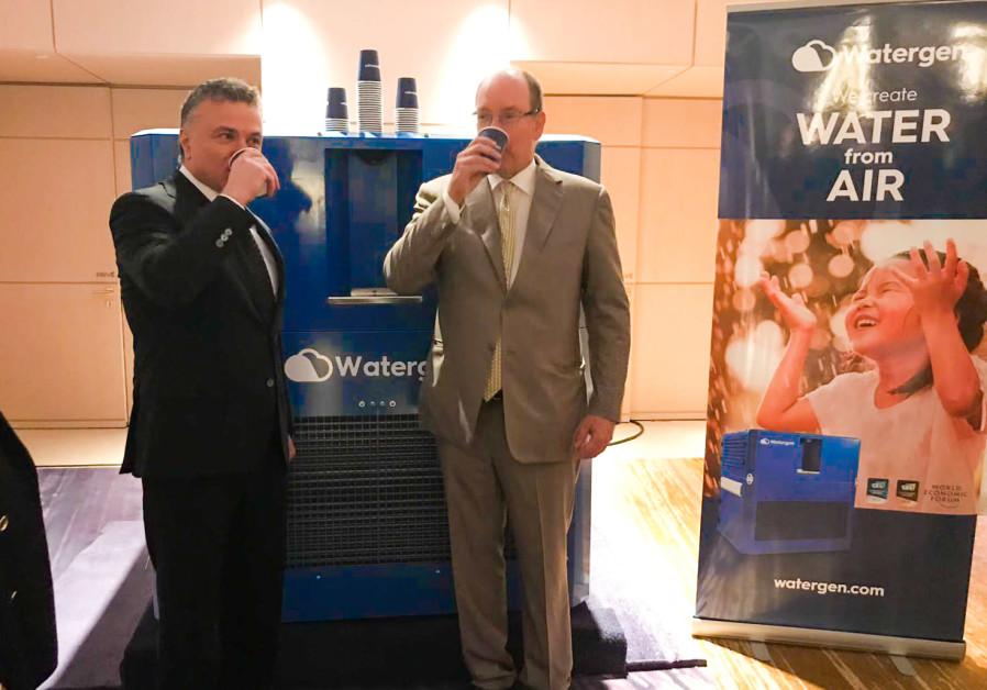 Monaco's Prince Albert II and Dr. Michael Mirilashvili drinking water-from-air last Monday.