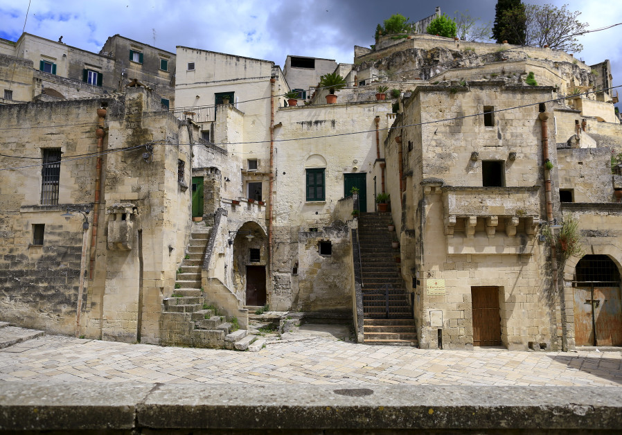 General view of Matera's Sassi limestone cave dwellings in southern Italy.