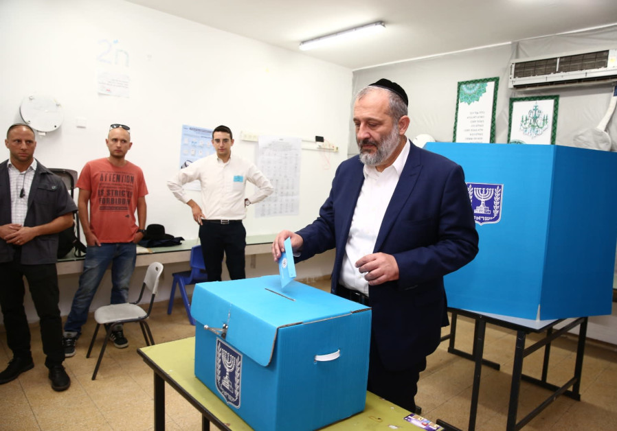 Shad leader and Minister of the Interior, Ayreh Deri casts his vote in Har Nof, Jerusalem, September