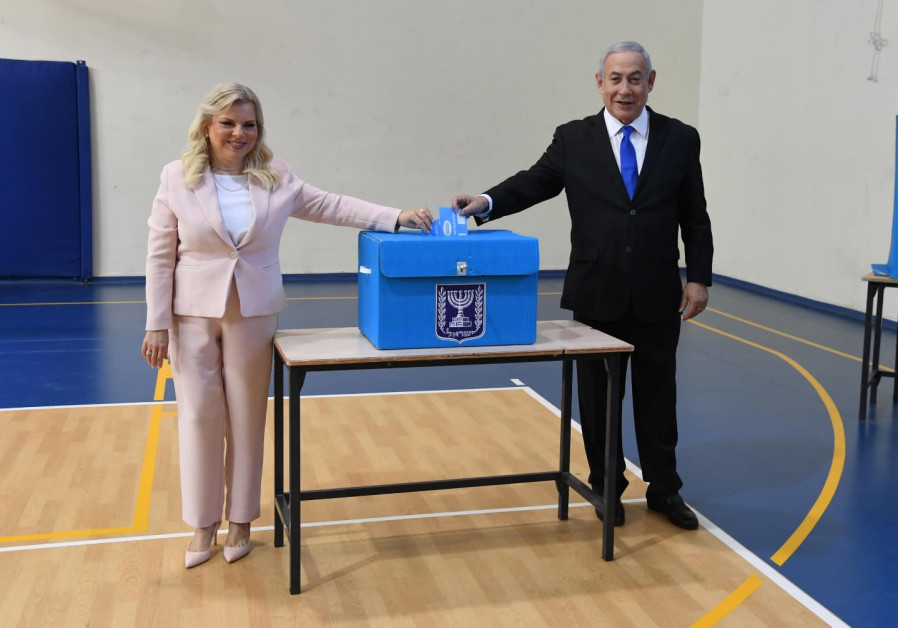 Prime Minister Benjamin Netanyahu and his wife, Sara Netanyahu, vote, September 17, 2019