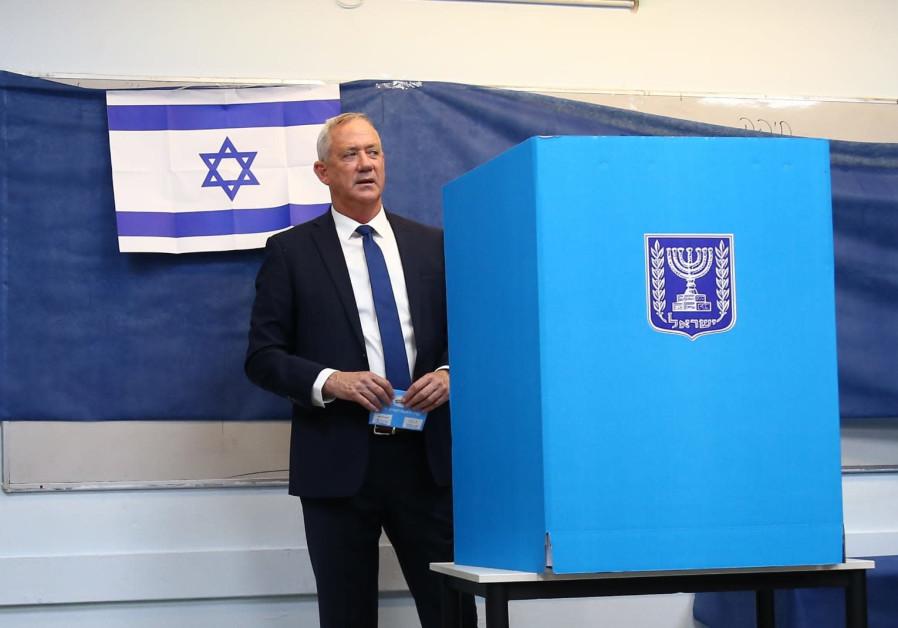Blue and White leader Benny Gantz votes, September 17, 2019