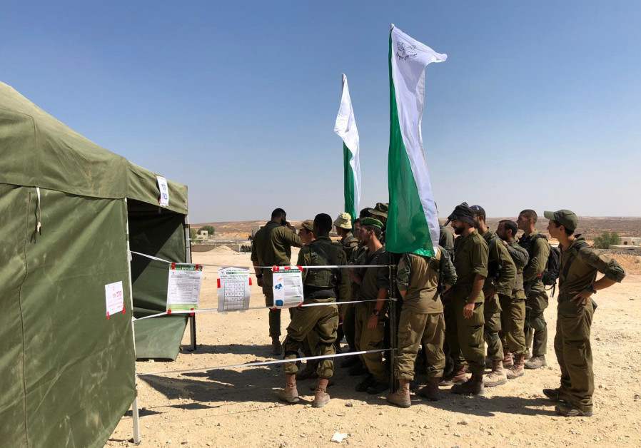 Nahal Brigade soldiers vote in Israel's September 2019 elections