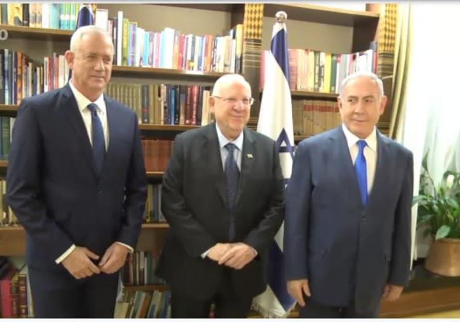 Reuven Rivlin, Benny Gantz and Benjamin Netanyahu meet on September 23, 2019.