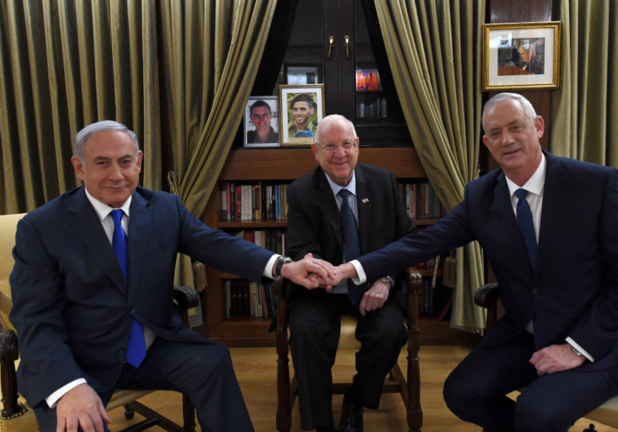 Reuven Rivlin, Benny Gantz and Benjamin Netanyahu meet on September 23, 2019.