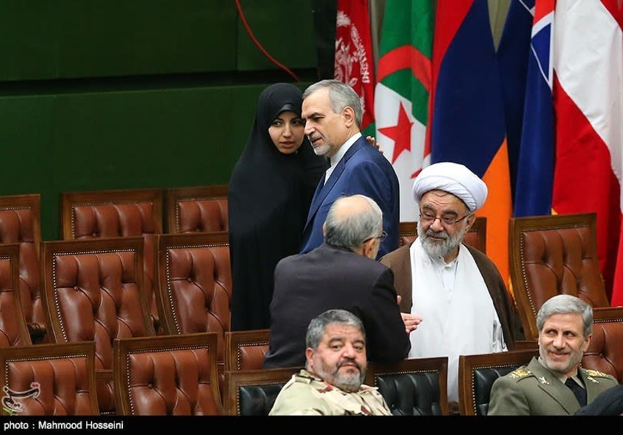 Iranian President Hassan Rouhani's sister and brother at his second inauguration