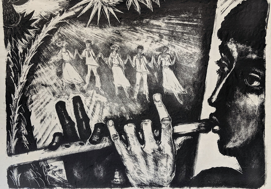 SHRAGA WEILL'S 1953 lithograph, 'The Flute Player,' evokes the early days of the state. (Credit: JERUSALEM ARTISTS' HOUSE)
