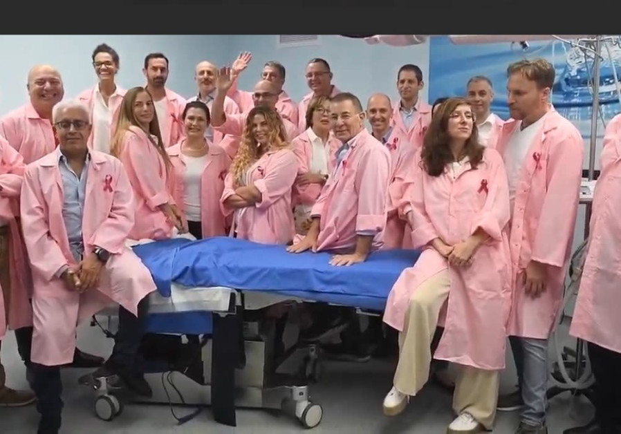Screenshot of breast reconstruction surgery specialists wearing pink robes