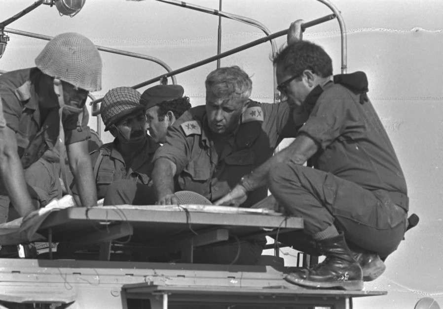 General Ariel Sharon and chief of southern command, Aluf Shmuel Gonen, visiting an IDF outpost in th