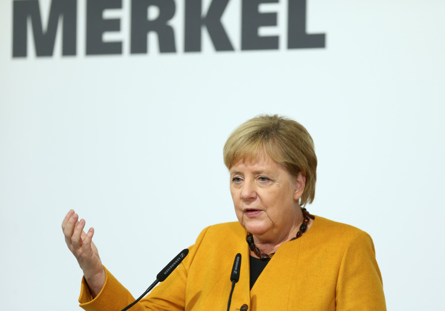 erman Chancellor Angela Merkel speaks during her visit of Herrenknecht AG in Schwanau, Germany, Octo