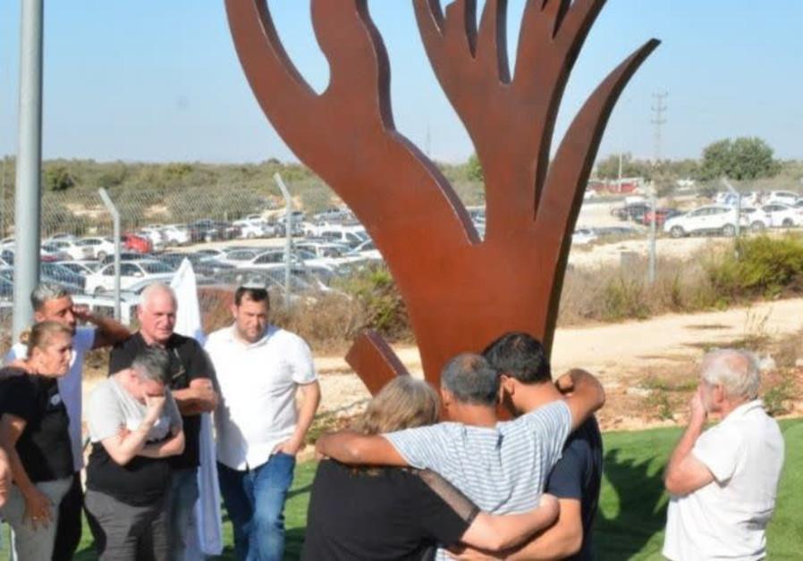 The memorial for Barkan terror victims Ziv Hajbi and Kim Levengrond Yehezkel killed October 7, 2018.