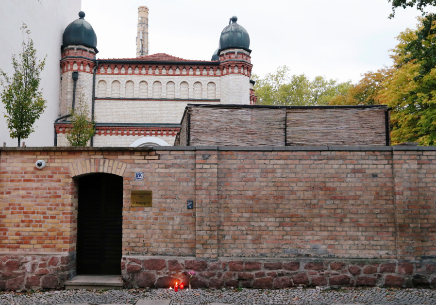 A view of the synagogue in Halle, Germany October 10, 2019, after two people were killed in a shooti