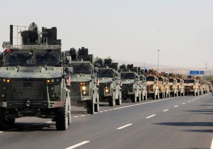 A Turkish miltary convoy is pictured in Kilis near the Turkish-Syrian border, Turkey, October 9, 201