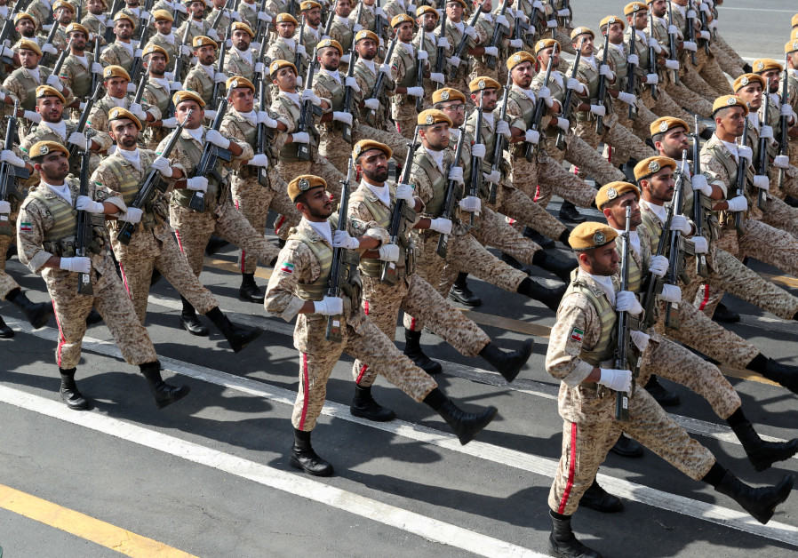 Iranian armed forces members march during the ceremony of the National Army Day parade in Tehran Ir