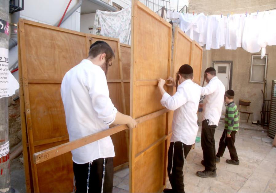 Constructng a Sukkah in Meah Shearim