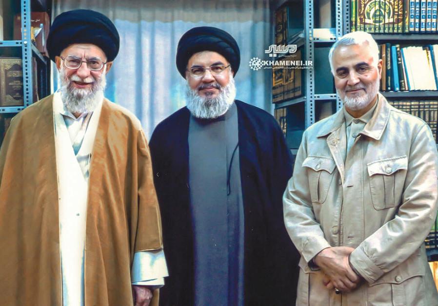 Iran's Khamenei with Hezbollah's Nasrallah and IRGC Quds Force's Soleimani