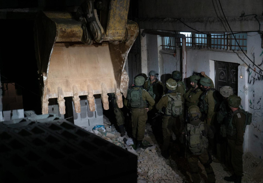IDF soldiers at the demolition of terrorist Islam Yousef Abu Hamid's house, al-Am'ari refugee camp,