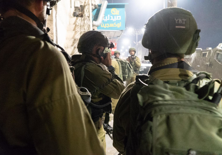IDF soldiers at the demolition of Yousef Abu Hamid's home al-Am'ari refugee camp, October 24 2019