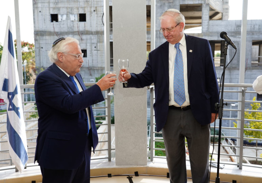 US Ambassador David Friedman toasting the opening of the new medical school at Ariel University.