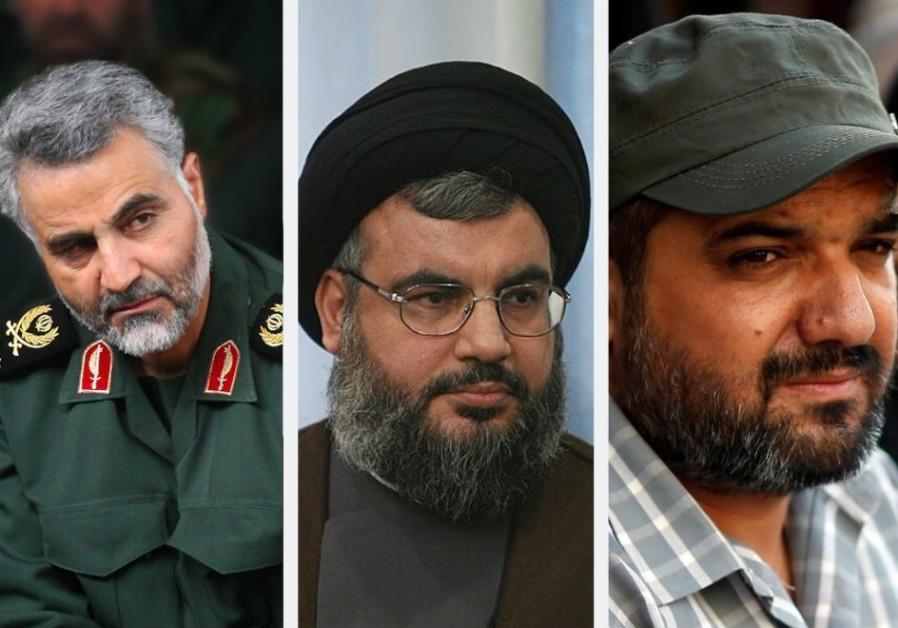 Le commandant de l'IRGC, Qassem Soleimani (à gauche), le chef du Hezbollah, Hassan Nasrallah (à droite), le Jiha Islamique Palestinien