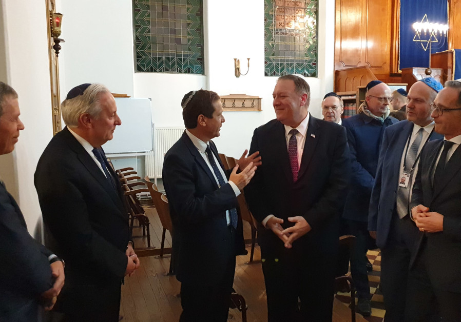 Head of Jewish Agency Isaac Herzog and US Secretary of State Mike Pompeo, Halle, Germany.