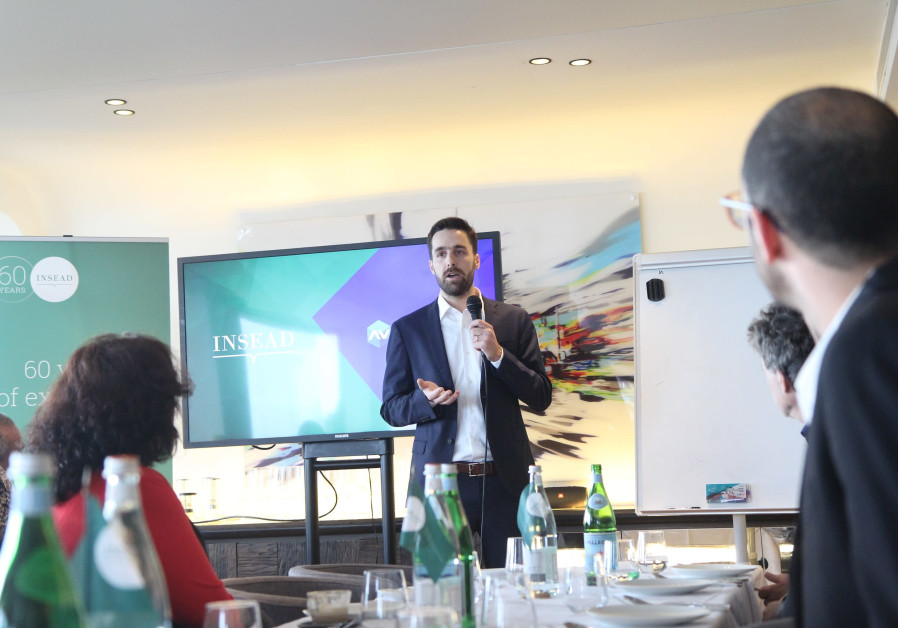 ActiView COO Tal Koelewyn announces the partnership with INSEAD in Tel Aviv, December 3, 2019 (Photo Credit: Eran Kahan)