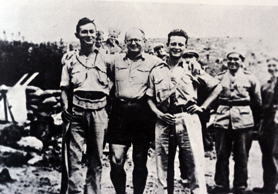 Military leader and politician Moshe Dayan,  Palmah commander and an IDF founder Yitzhak Sadeh, Palmah commander, IDF general and politician Yigal Allon and IAF Commander Maj.-Gen. Amikam Norkin's grandfather in Kibbutz Hanita, 1938. (Wikipedia)