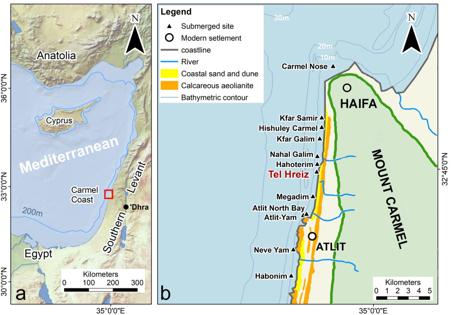 A map showing the location of the defense wall in Tel Hreiz. (photo credit: FLINDERS UNIVERSITY)