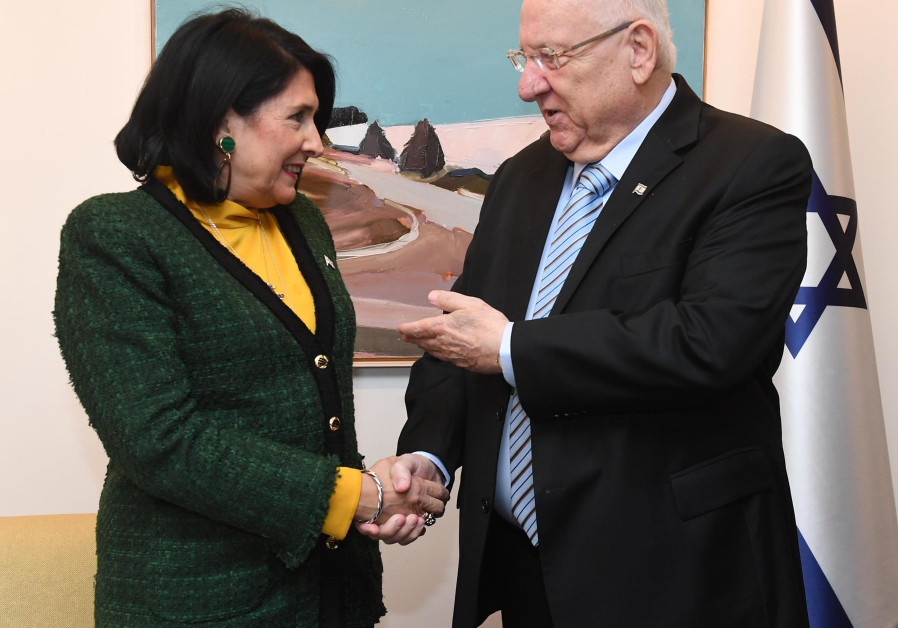 President Reuven Rivlin holds a working meeting with President of Georgia Salome Zurabishvili. (Mark Neiman/GPO)