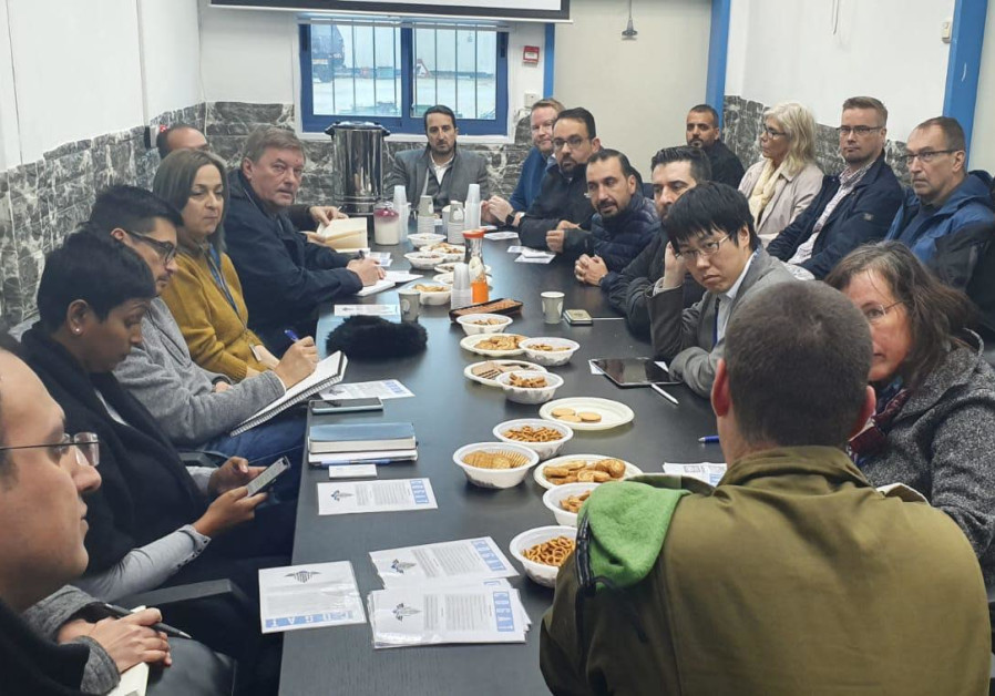 Representatives of 34 international organizations are seen meeting with COGAT personnel. (Credit: COGAT Spokesperson's Office)