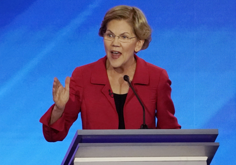 Democratic 2020 U.S. presidential candidate Senator Elizabeth Warren speaks during the eighth Democratic 2020 presidential debate at Saint Anselm College in Manchester, New Hampshire, U.S., February 7, 2020 (Credit: Reuters/Brian Snyder)