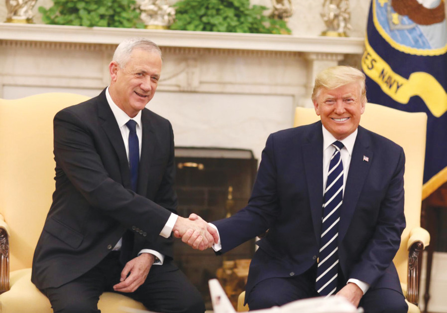 Blue and White leader Benny Gantz meets President Donald Trump at the White House on January 27