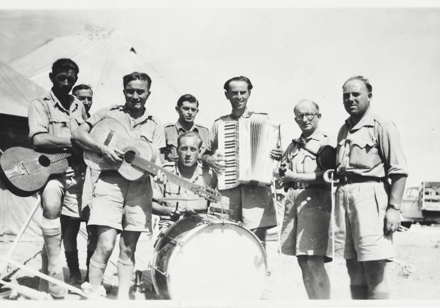 A group portrait of members of the Polish II Corps (Anders' Army) band while they were stationed in Palestine