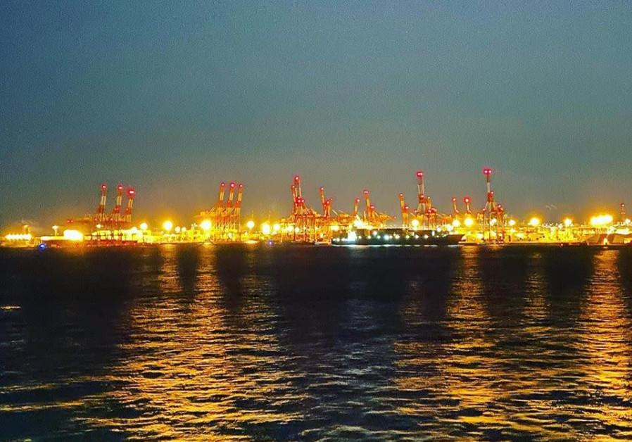 Night lights on Japanese port ocean (credit: Sarah Arana)